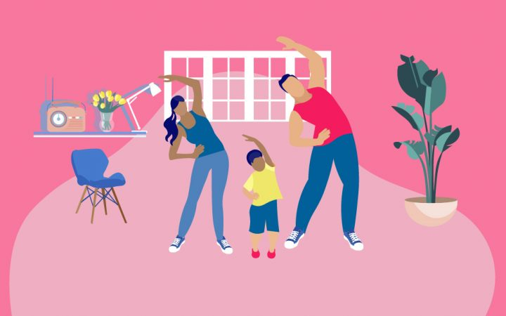 Illustration of family at home doing exercise