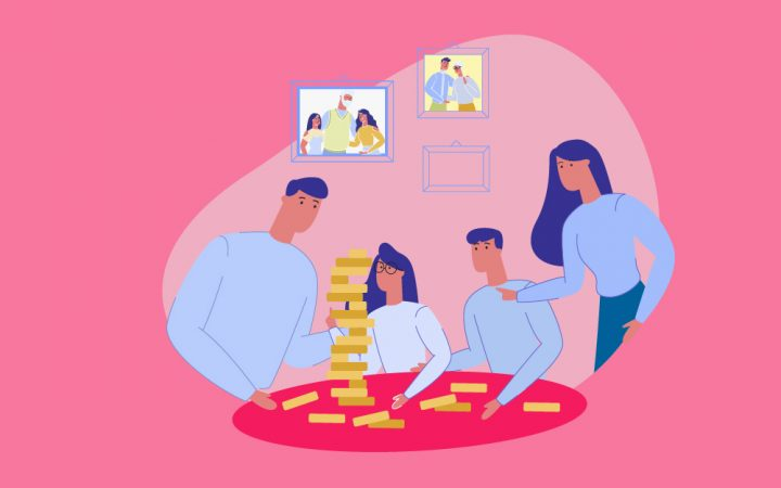 Illustration of family sitting round boosting brainpower together