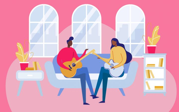 Illustration of people playing guitar to boost brainpower
