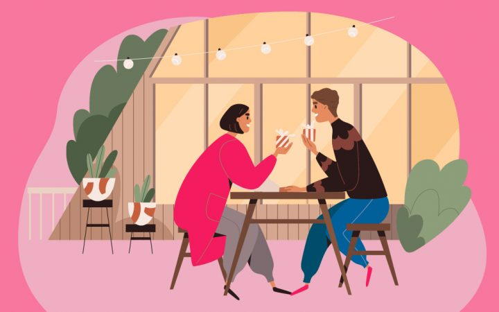 Illustration of friends sat talking at a table