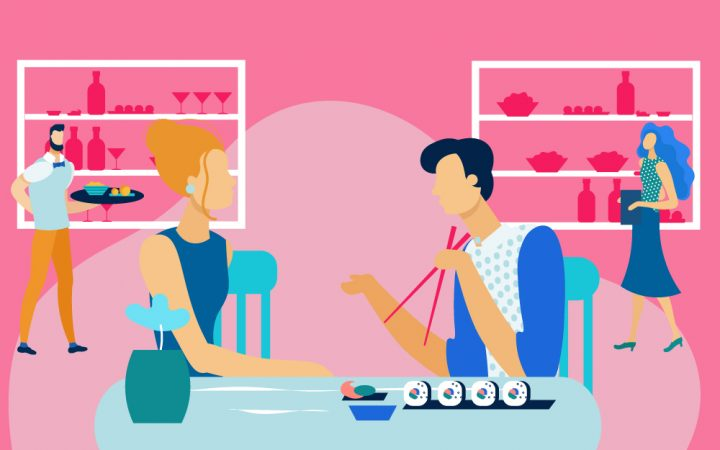 Illustration of two people eating sushi