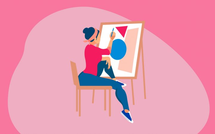 Illustration of a woman painting on a canvas - brainpower