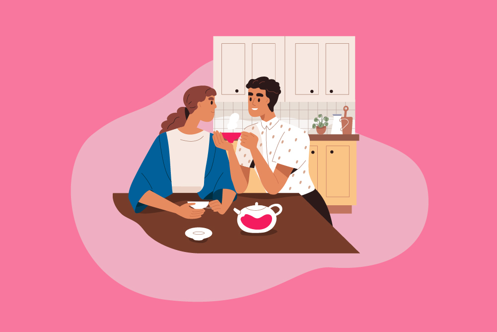 illustration of a couple boosting their brain power with food