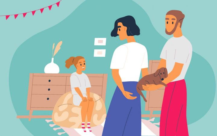 Illustration of family with pets facing separation anxiety