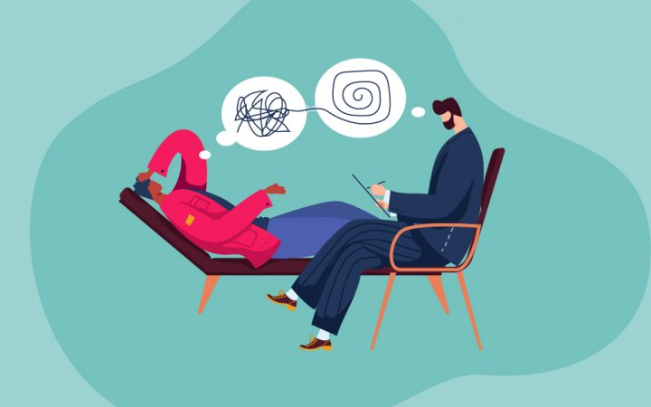 Illustration of someone talking to therapist about separation anxiety