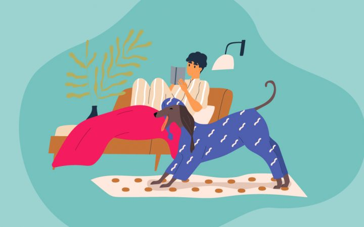 Illustration of person with dog at home