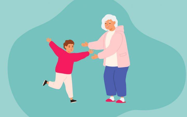 Illustration of a little boy hugging his grandma