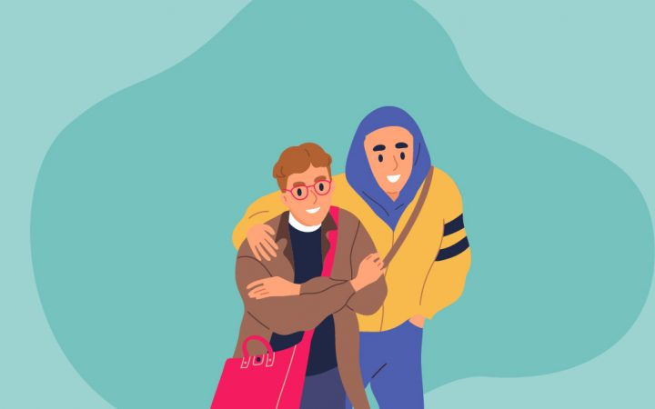Illustration of two friends hugging
