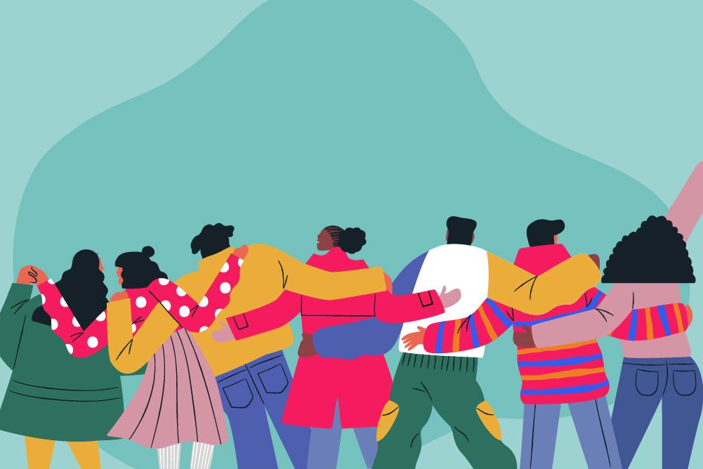 Illustration of lots of people having a hug