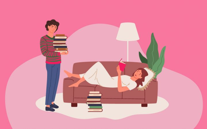 Illustration of a man and woman talking about books