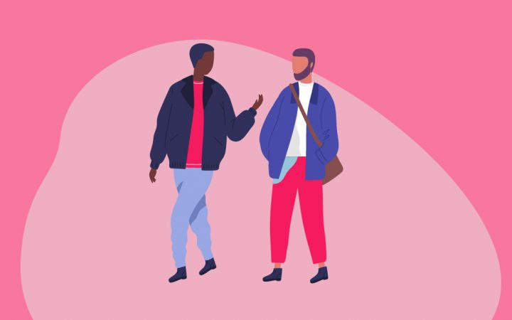 Illustration of two men going for a walk