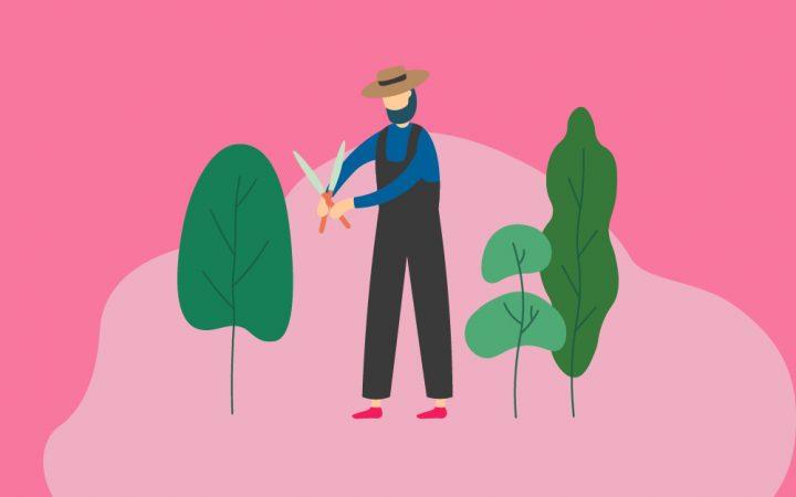 Illustration of man gardening with treses