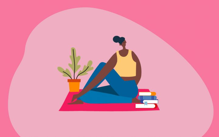 Slow living can save money - illustration of woman doing yoga