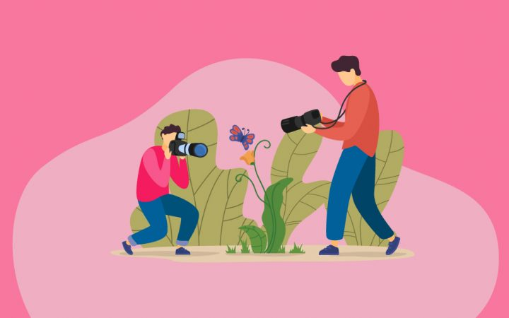 illustration of two people being creative and taking photos