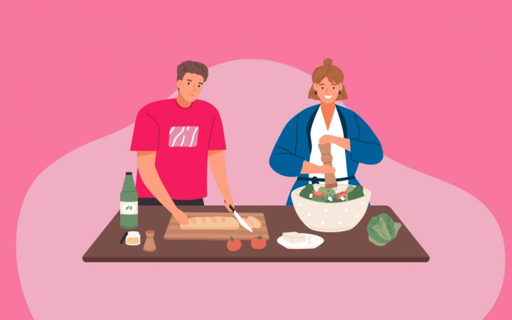 illustration of couple at home cooking and eating together