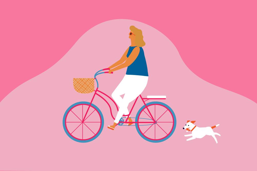 Woman on bike 'slow living'