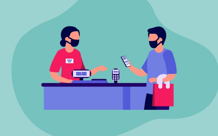 Illustration of two people at a cashier till spending money