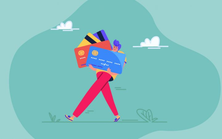 illustration of person holding lots of credit cards