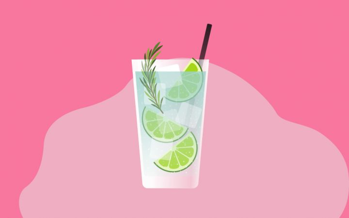 Iluustration of a gin and tonic drink