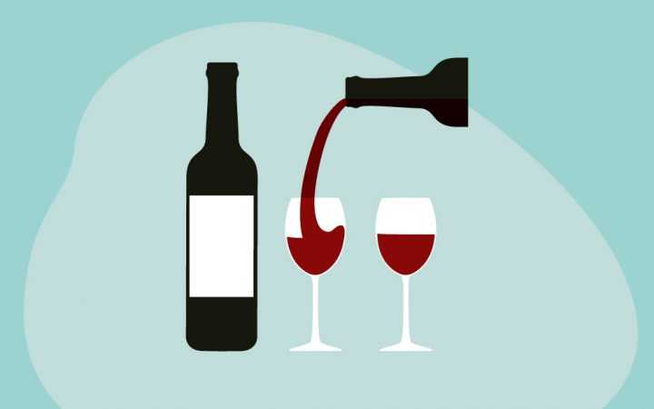 Illustration of two glasses with red wine alcohol being poured into them
