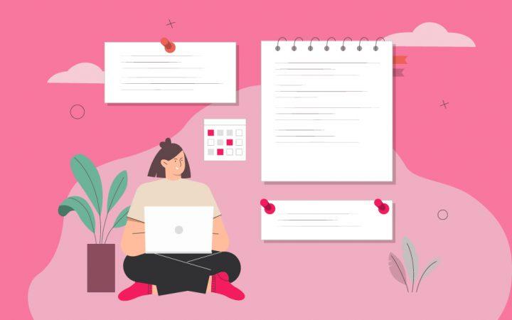 Illustration of lady planning