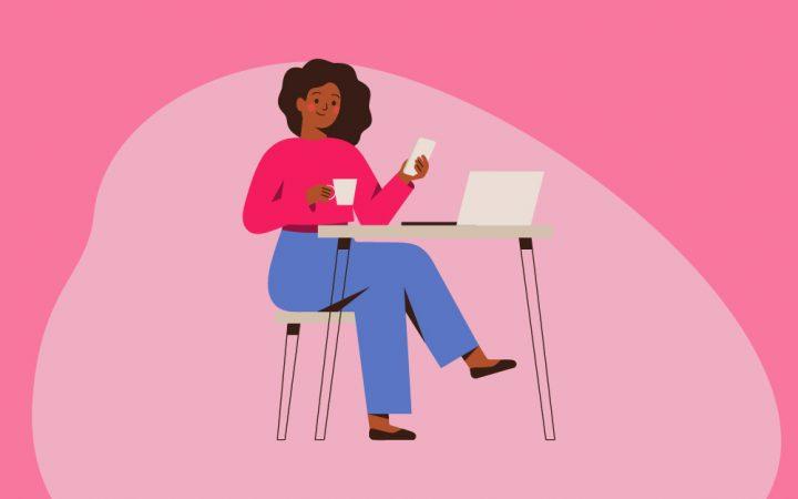 Illustration of woman at laptop planning week