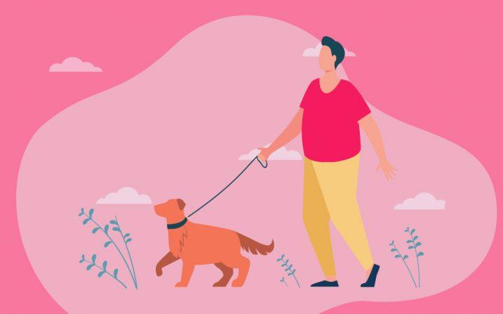 Illustration of man walking his dog