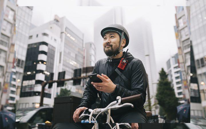 Man on daily commute using bike