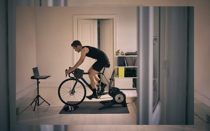 Man exercising on bike